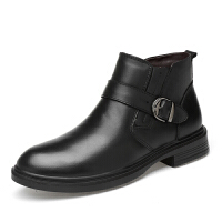 2018冬季加绒高帮皮鞋保暖真皮男鞋拉链皮靴冬款大码男靴牛皮短靴 36-47皮鞋码