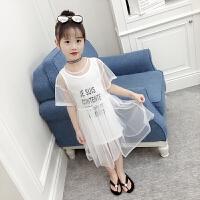 女童夏装短袖两件套裙子洋气公主裙背心裙