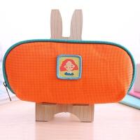 B化妆包 创意韩国可爱约大容量铅笔袋文具盒收纳 C橘红色