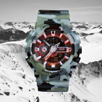 三达新款迷彩色多功能双显冷光电子防水户外军事防震运动手表
