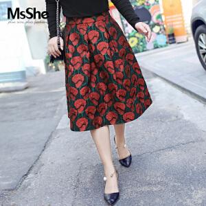 MsShe加大码女装2017新款秋装复古优雅提花半身裙M1730269