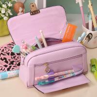 韩版多功能简约铅笔袋女孩初中小学生创意韩国文具盒大容量手提包