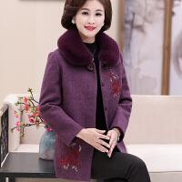 中老年女装妈妈冬装中长款毛呢外套2017新款毛领羊绒大衣40岁50女