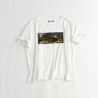 女短袖T恤 圆领拼接绣花字母宽松大码体恤衫50B