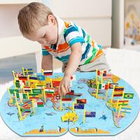 【喜迎双旦 特价包邮】乌龟先森 地图 儿童蒙氏益智玩具3-4-6周岁男孩女孩世界插国旗地图智力拼图