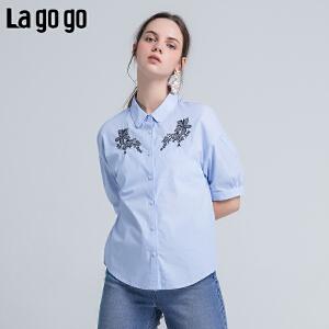 Lagogo/拉谷谷2018年夏季新款时尚翻领纽扣刺绣衬衫女HACC214A17