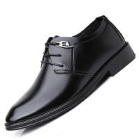 皮鞋男商务休闲鞋百搭黑色防滑男士正装工作鞋英伦系带透气鞋子男 2862 黑色