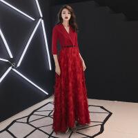 №【2019新款】新娘穿的敬酒服2018新款红色结婚显瘦答谢宴长袖晚礼服女长款冬天