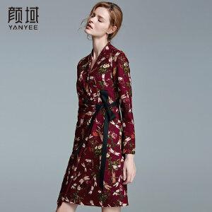 颜域品牌女装2017冬装新款优雅印花v领修身绑带针织长袖连衣裙女