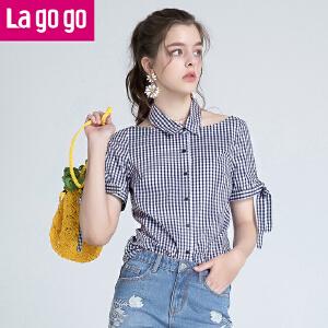 Lagogo/拉谷谷2018年夏季新款时尚个性学院风系带衬衫HACC244M20