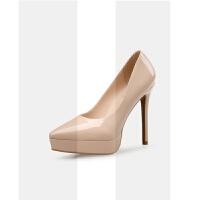 2018新款12厘米裸色超高跟单鞋女防水台10厘米漆皮细跟尖头高跟鞋SN7270 37码 跟高10厘米