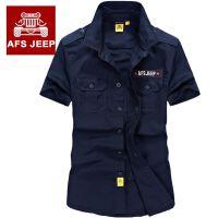 AFS JEEP男士短袖衬衫吉普薄款纯棉宽松海军衬衣休闲军装衬衣1003