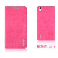 P7-L00 L05/7/9手机保护皮套 外壳P7手机壳 翻盖式男女潮 华为P7 -桃粉色