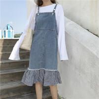 春季新款韩版复古下摆格子百搭牛仔背带裙宽松显瘦中长裙连衣裙女