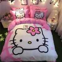 哈喽KT猫四件套儿童卡通纯棉床单笠三件套kitty被套