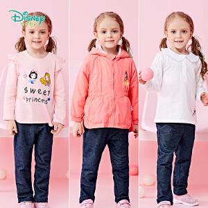 迪士尼Disney童装女童裤子秋装新款休闲针织长裤宝宝可开档仿牛仔外出打底直筒裤183K799