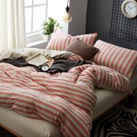 天竺棉四件套全棉针织棉床上用品棉被套床单4件套床笠款 粉红色 粉色佳人