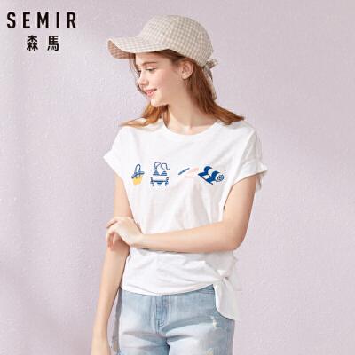 森马2019夏季新款短袖T恤女宽松纯棉撞色刺绣体恤chic港味上衣