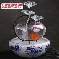 客厅玻璃鱼缸电视柜流水摆件喷泉家居办公桌面加湿器创意开业礼品