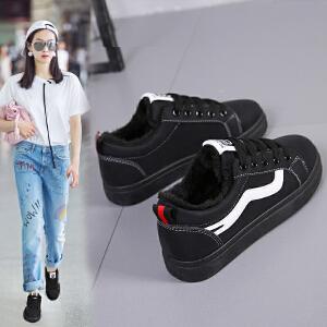 女式 加绒小白鞋女新款冬季韩版百搭学生保暖棉鞋