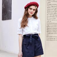 【2件2.5折到手价:49.8】美特斯邦威短袖衬衫女韩版夏装新款棉麻圆领甜美衬衣商场款