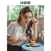 【清仓3折价89.7】Lagogo/拉谷谷2019夏季新款领上撞色系带雪纺衫女上衣HASS335A16