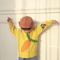 男女童秋冬季黄色胡萝卜加绒加厚针织衫套头提花毛衣上衣宝宝外套