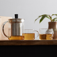 【每满100减50】橙舍 飘逸杯 一壶两杯耐高温玻璃茶壶不锈钢过滤茶具套装泡茶器