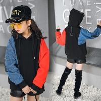 儿童冬装卫衣新款韩版女童连帽绒衫中大童拼色加绒卫衣