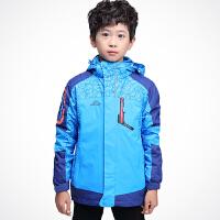 男童户外冲锋衣秋冬男孩套装加绒加厚保暖儿童三合一风衣外套