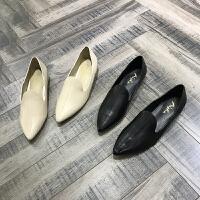 2018早春新款女鞋胎牛皮尖头平底时装套脚单鞋懒人鞋潮
