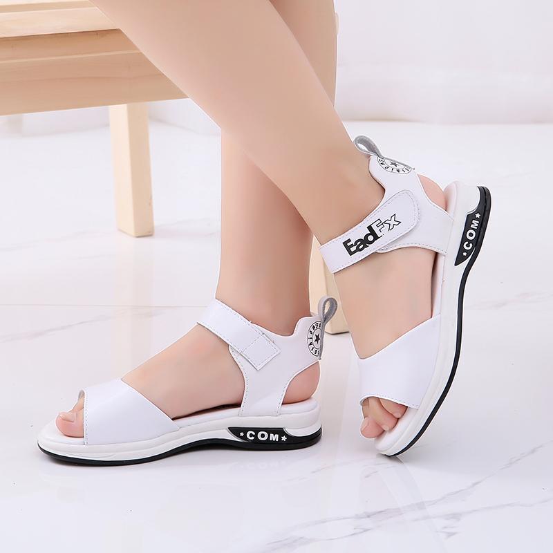 女童凉鞋儿童真皮童鞋女公主鞋学生中大童夏季沙滩鞋