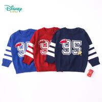 【3件4折】迪士尼Disney童装男童毛衣冬保暖儿童毛衣圆领男童针织衫183S1075