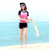 游泳衣女分体平角裤保守遮肚显瘦运动学生女士大码温泉泳装 韩国