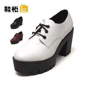 达芙妮集团 鞋柜 松糕英伦风黑色增高小皮鞋 学院风韩版 百搭厚底带跟粗跟单鞋