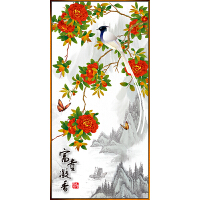 鸟语花香新中式装饰画玄关走廊挂画现代客厅竖版壁画样板房间墙画 80x160cm 古铜金色框 单幅价格
