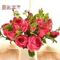 墨菲欧式田园仿真花玫瑰假花艺家居客厅餐桌装饰花卉花瓶插花摆件
