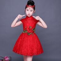 女童旗袍夏季蕾丝儿童唐装中国风连衣裙小女孩古典演出服