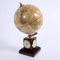 书房摆件 实木时钟地球仪 实用高清进口地球仪