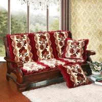 实木沙发垫加厚海绵红木沙发坐垫带靠背连体单人座木头椅垫子 乳白色 喇叭花红