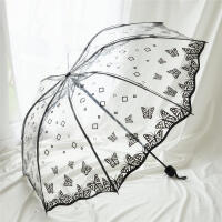 雨伞 新款波浪边复古清新透明伞PVC三折叠伞拱形蝴蝶玫瑰女伞