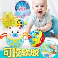 婴儿手摇铃玩具0-1岁宝宝可咬软胶手抓手拿套装男女孩3-6-12个月