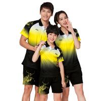 羽毛球服夏运动短袖套装男女款儿童乒乓网球训练服团队跑步衣 黑色 437#