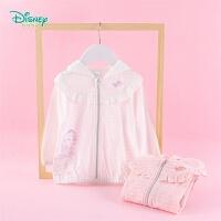 迪士尼Disney童装 女童纯棉连帽外套甜美花边拼接上衣年春季新款儿童外出服