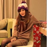 秋冬装大码女装卫衣200斤韩版胖MM加绒加厚休闲运动服两件套装潮