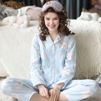 哺乳衣春秋孕妇睡衣套装 月子服夏季薄款棉纱布产妇产后