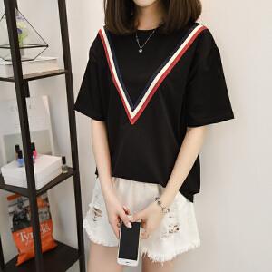 新款拼接短袖女t恤打底衫夏季学生休闲体恤韩版百搭纯棉半袖上衣