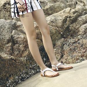 玛菲玛图一字带凉鞋女夏平底2018新款度假风海边休闲沙滩鞋港味夹趾罗马鞋设计师女鞋M19816263T6