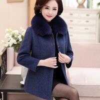 中老年女人秋冬装狐狸毛领羊绒大衣妈妈装加厚保暖短款貂绒外套