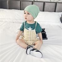 婴儿套装夏装新生儿纯棉T恤条纹背带裤两件套0-2岁薄宝宝夏季